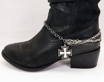 Boot Bracelet/Boot Chain Black Multi Chain~Silver Maltese Cross Boot Jewelry