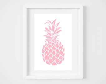 DIGITAL DOWNLOAD, Pink Pineapple, Pineapple wall decor, Tropical Art, Pineapple Art, Pineapple, Pink Pineapple Art, Tropical