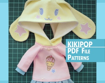 Digital Download PDF File Patterns and English Instructions of Rabbit Hoodie For Azone Kikipop