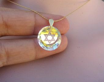 dc8174152 Swarovski, Star Of David Necklace, Jewish Star Pendant, Jewish Jewelry, Star  Of David, Judaica Jewelry, Holy Land, David Star, Jewish Gift.