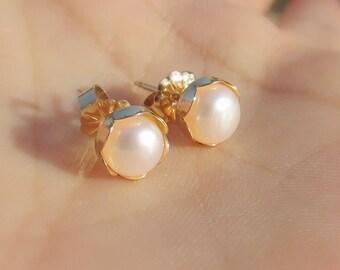 Gold Pearl Earrings Etsy