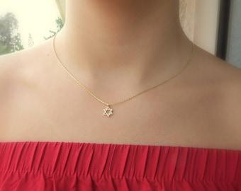 Star of david necklace jewish star necklace davids star necklace