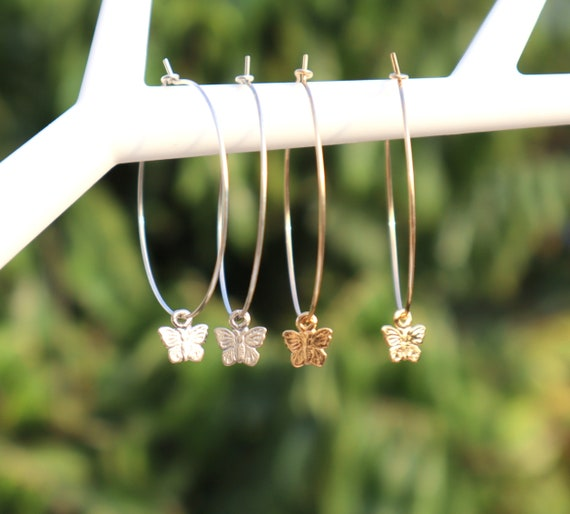 Tiny Butterfly Earrings, Butterfly Hoop Earrings, Thin and dainty Hoops, Nature Jewelry, Gold Butterfly Earrings, Silver Butterfly Earrings.