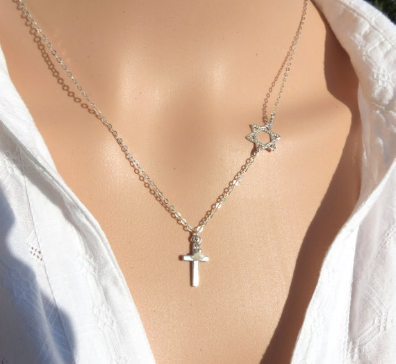 star of david with cross necklace cross with magen david etsy