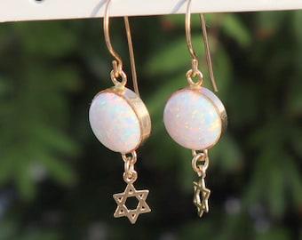 Star of David earrings, Opal Star of David, Gold Star of David, Jewish Gift, Jewish Star earrings, Small Magen David, David Star earrings.