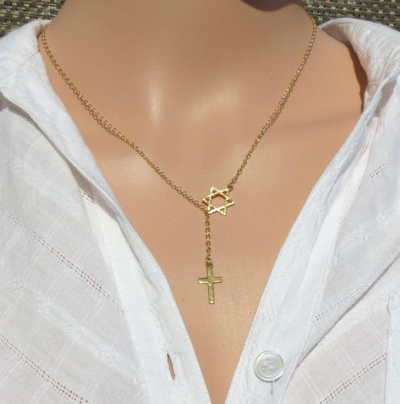 gold messianic star of david cross necklace cross with magen etsy
