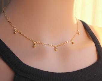 Minimalist Dangling Tiny Balls Choker Necklace, Tiny Beads Necklace, Silver Tiny Balls Choker, Circle Necklace, Trendy Choker, Gold Chocker.