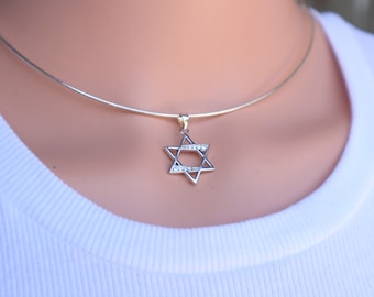 Sterling Star of David Necklace, Star of David Charm Choker, Jewish Jewelry, Silver Magen David, Crystal Jewish Star, Hebrew Judaica, Gift.