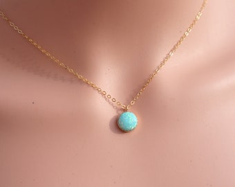 Turquoise Opal Necklace, Gold Filled Opal Necklace, Sterling Silver Opal Necklace, Opal Jewelry, Opal Pendant, Turquoise Pendant, Blue Opal.