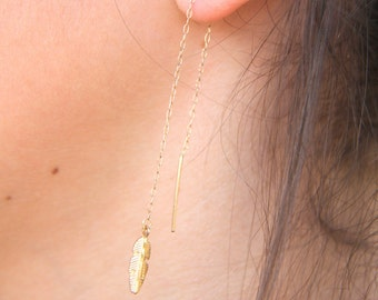 Gold Filled Threader Earrings, Feather Thread Earrings, Feather Earrings, Feather Fall Earrings, Fashion Earrings, Minimalist Jewelry, Gift.