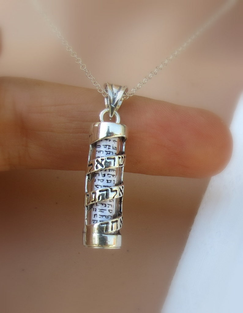 Mezuzah With Star of David Judaica 925 Sterling Silver Jewish Pendant Necklace