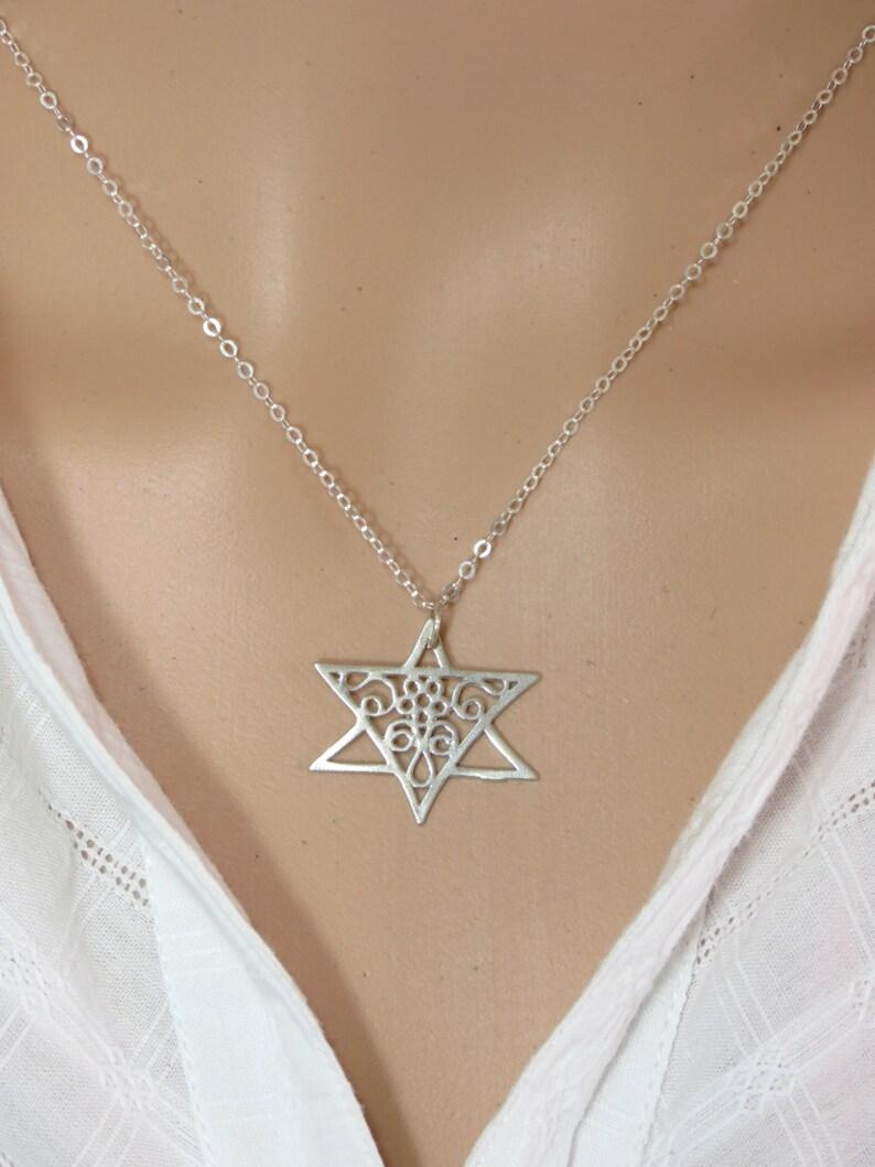 Minimalist Silver Star of David Necklace Lace Necklace Lace Jewelry Silver Star of David Charm Silver Pendant Gift. Judaica Jewelry