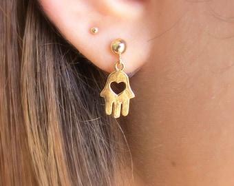 Hamsa Earrings, Gold Hamsa Stud Earrings, Evil Eye Earrings, Hamsa Heart Earrings, Hamsa Jewelry, Tiny Hamsa Posts, Little Gold Hamsa Hand.