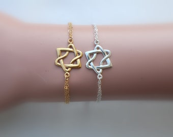 Silver Star Of David Bracelet, Gold David Star, Star Of David Jewelry, Jewish Jewelry, Magen David Bracelet, Jewish Star Bracelet, Jew Gift.