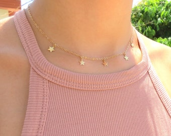 Gold Star Choker Necklace, Star Necklace, Tiny Stars Necklace, Bohemian Jewelry, Layering Necklace, Trendy Choker, Festival Jewelry, Gift.