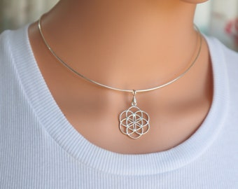 Sterling Seed of Life Necklace, Flower of Life Choker, Silver Mandala Choker, Sterling Silver Mandala, Sacred Geometry, kabbalah Necklace