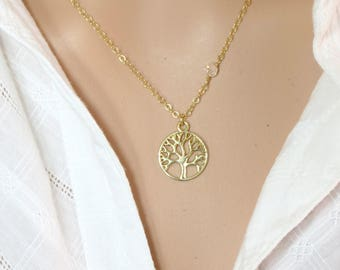 Tree of Life Necklace, 14kt Gold Filled Necklace, Small Gold Tree of life Pendant, Gold Tree Pendant, Gold Necklace, Gold Jewelry.