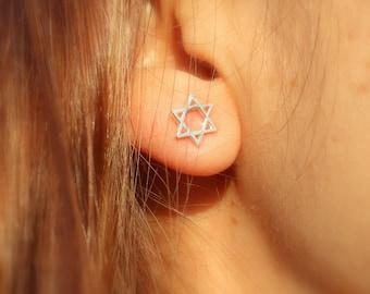 Star of David Earrings, Star of David Stud Earrings, Sterling Silver Star of David Studs, Small Magen David Stud Earrings, Judaica Jewelry.