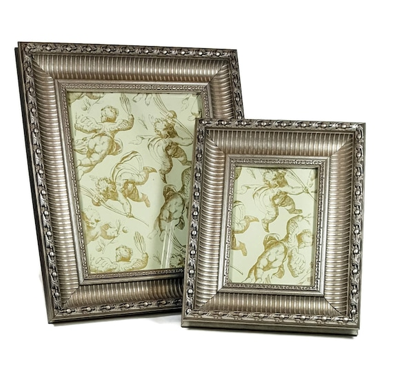2 SILVER PICTURE FRAME Set Ornate Wooden Frame 5x7 And 8x10 Table Top Frames  Tailored Style Wedding Decor From Framecottage On Etsy Studio