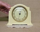1930s Vintage Bakelite Mantle Clock by Smiths - Cream Case - Gold Coloured Numerals