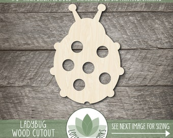10x Wooden Insect Comic Ladybug Craft Shapes 3mm Plywood Bugs And Beatles