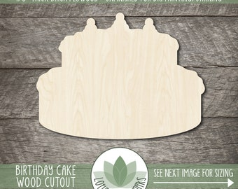 Unfinished Wooden Cake Silhoutte 2 tier Craft up to 24 DIY