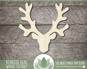 Wood REINDEER Cutout Paintable Craft Shape Christmas Cutout Wood Christmas Shape Wood Reindeer Shape Unfinished Wooden Craft Shape