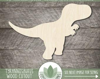 Cute Tyrannosaurus Rex Wood Cutout, Unfinished Wood Blanks, DIY Craft Embellishments, Laser Cut Wooden Dinosaur Shapes