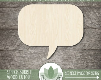 Speech Bubble Wood Craft Cutout, Unfinished Wood Blanks, DIY Craft Embellishment, Laser Cut Wooden Photo Booth Shapes