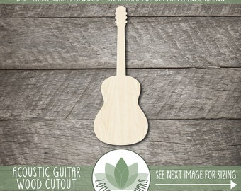 Wood Acoustic Guitar Cutout, Laser Cut Wooden Music Shapes, Unfinished Wood Blanks, Music Craft Embellishment