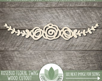 Rosebud Flower Swag Cutout, Rose With Laurel Branch Shape, Wooden Flower Cutouts, Wood Floral Sign Making Supplies, Wood Flowers