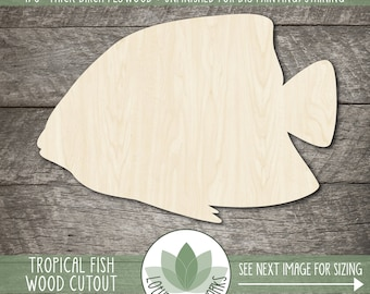 Tropical Fish Wood Cutout, Unfinished Wood Blanks, DIY Craft Embellishments, Laser Cut Wooden Fish Shapes
