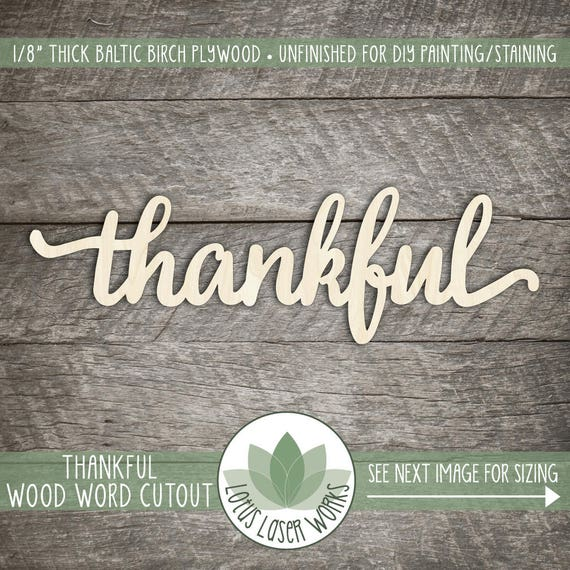 Wooden Word Sign Thankful Wood Word Home Decor Lowercase