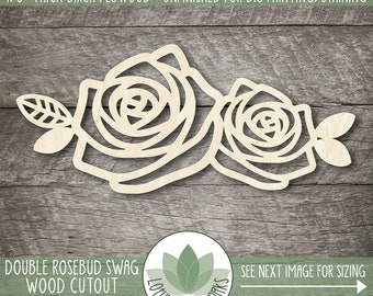 Rosebud Swag Wood Cutout, Sign Making Cutouts, Wooden Double Rose With Leaves, Blank Flower Shapes