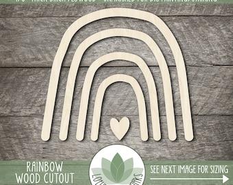 Wood Rainbow Cutout, Blank Wood DIY Craft Embellishments, Laser Cut Wooden Rainbow Shape
