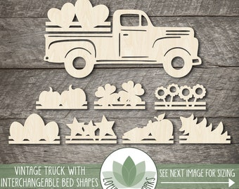 Wood Vintage Pick Up Truck Cutout With Interchangeable Bed Pieces, Wooden Truck Shape With Changeable Holiday Bed Pieces
