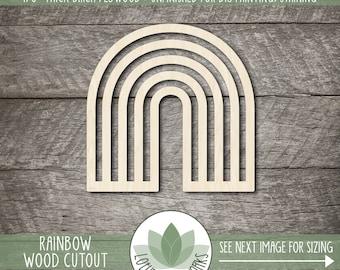 Wood Rainbow Craft Shape, Unfinished Wood Blanks, Laser Cut Wooden Rainbow Cutouts, DIY Craft Embellishment, Wood Craft Supplies