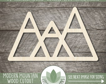 Mountain Wood Cutout, Laser Cut Wooden Three Peak Mountain Shape, Unfinished Wood Blanks, DIY Craft Embellishment