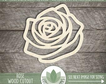 Wood Rose Cutout, Flower Embellishments, Wooden Rose Shape, Blank Wood Shapes, Wood Flower