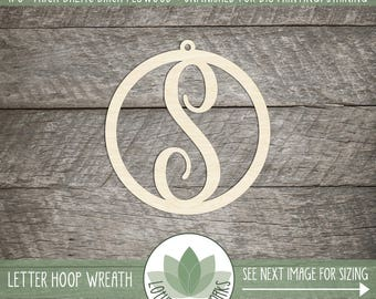 Wood Letter Cutout For DIY Crafting Supplies, Wood Monogram Wall Decor, Personalized Wood Letter Christmas Ornament, Unfinished Wood Letter
