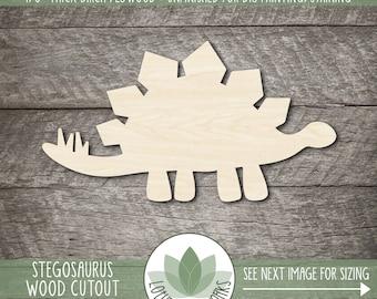 Wood Dinosaur Craft Shape, Unfinished Wood Blanks, Laser Cut Wooden Stegosaurus Cutout, Wood Craft Supplies, Embellishment