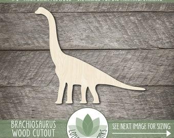 Brachiosaurus Wood Cutout, Unfinished Wood Craft Blanks, Laser Cut Wooden Dinosaur Shapes, DIY Craft Embellishment