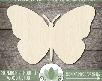 Monarch Butterfly Silhouette Wood Cutout, Unfinished Wood Blanks, DIY Craft Embellishment, Laser Cut Wooden Shapes