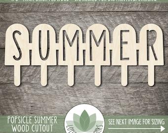 Popsicle Summer Wood Cutout, Unfinished Wood Blanks, Laser Cut Popsicle Wooden Shape, DIY Craft Embellishment, Sign Making Supply