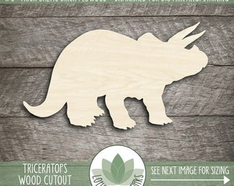 Triceratops Wood Cutout, Unfinished Wood Craft Blanks, Laser Cut Wooden Dinosaur Shapes, DIY Craft Embellishment