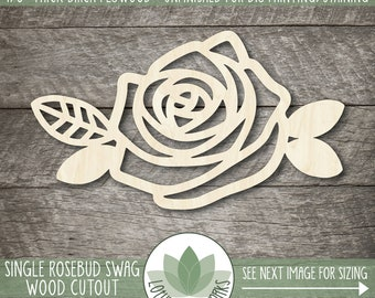 Rosebud Swag Wood Cutout, Sign Making Supplies, Single Rose With Leaves Wood Shape, Blank Flower Shapes
