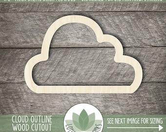Wood Cloud Outline Cutout, Blank Wood Craft Shapes, Wooden Cloud Shape, Cloud Nursery Decor