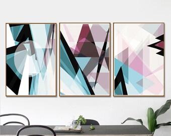Geometric Print Modern Art Set of 3 Prints Blue Pink Art Downloadable Poster Triangles Art Living Room Fine Art Geometric Abstract 16x20 Art