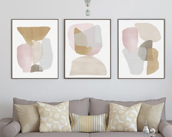 living room art large set of prints beige abstract art neutral artwork pastel wall printable poster digital download living room triptych 18x24 room art etsy