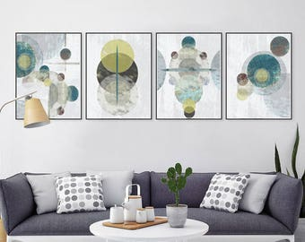 Geometric Wall Art Set of 4 Prints Downloadable Mid Century Poster Gray Abstract Art Circle Art Modern Artwork Grey Prints Abstract Poster